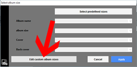 Edit custom album sizes