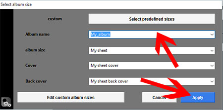 Apply predefined album sizes