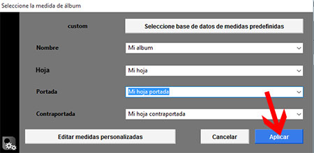 Aplicar medidas predefinidas de álbum