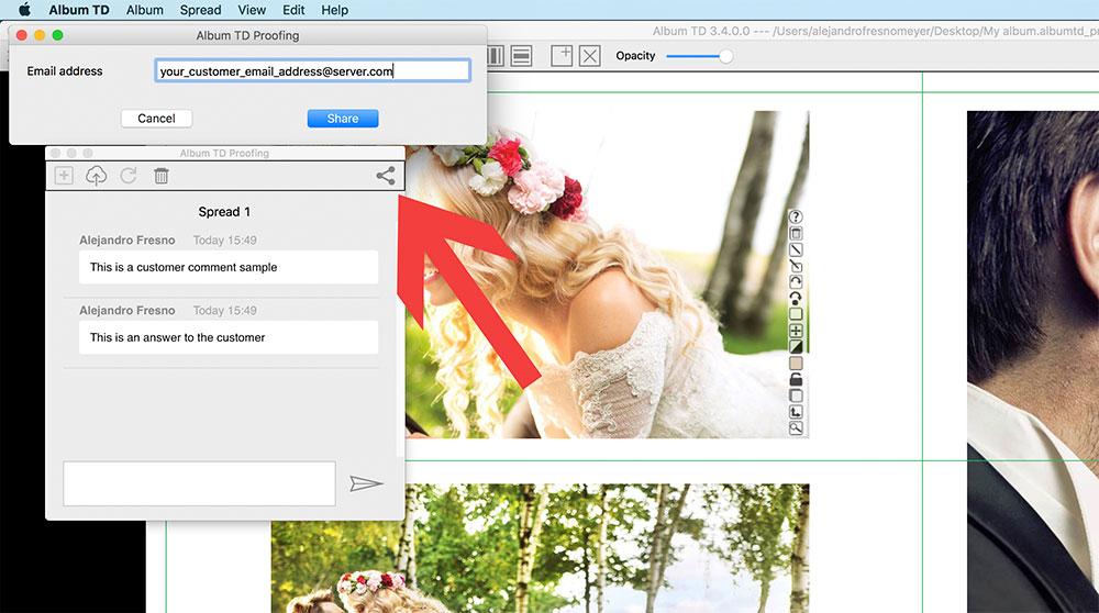Share online album with your customers for album proofing